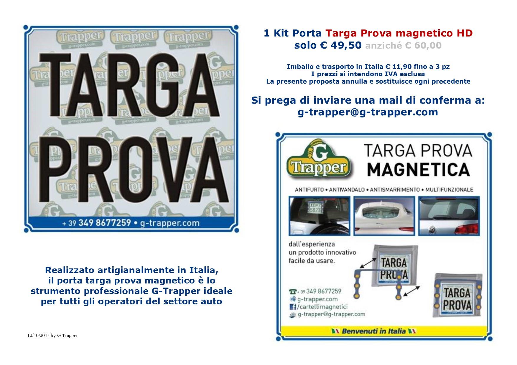 Nuovi porta targa prova a calamite G-Trapper per gli operatori del settore auto www.g-trapper.com