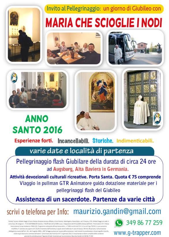 Nel corso dell'anno e con partenze da varie regioni e città, Vi invitiamo al pellegrinaggio dalla Madonna che scioglie i nodi, ad Augsburg, in Germania