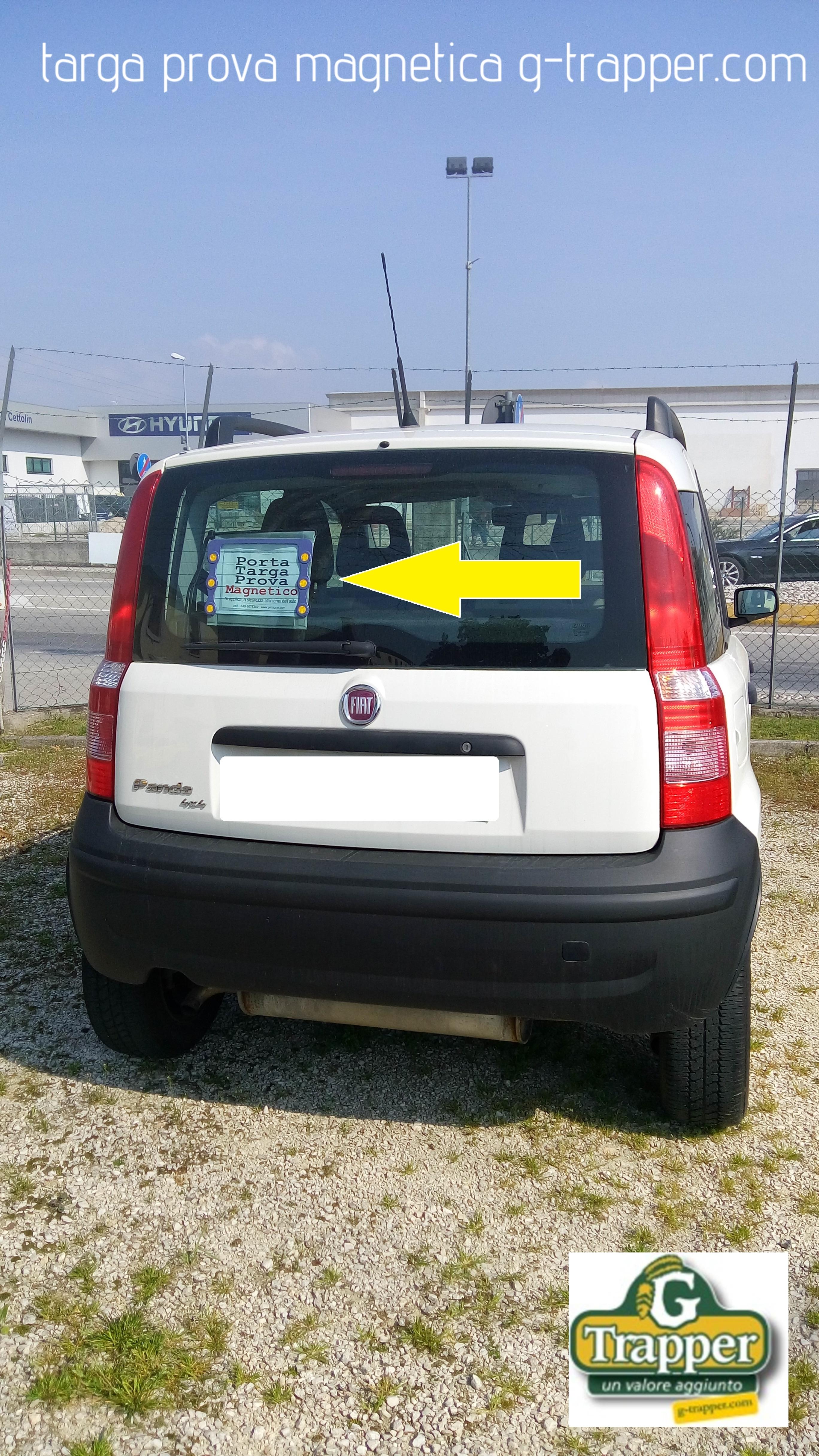 targa prova facilissima da usare, con il dispositivo magnetico di G-Trapper La targa prova calamitata g-trapper.com